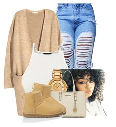 """Untitled #2486"" by alisha-caprise ❤ liked on Polyvore featuring H&M, Versace, MICHAEL Michael Kors and UGG Australia"