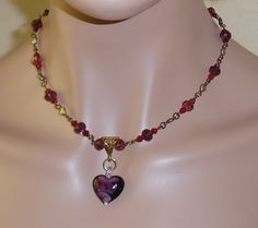 Purple Heart Valentine Antique Style Necklace and Earrings/Heart Pendant/Purple and Red Valentine Pendant by MyJannyMarie on Etsy