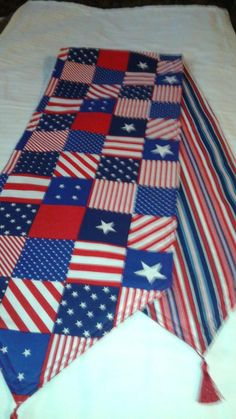 Patriotic Handmade Table Runner, 72x14, Reversible & Padded by freemansalesgirl on Etsy