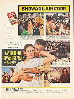 "paperink id: ads5035 Ava Gardner Stewart Granger 1956 Bhowani Junction Vintage MGM Movie Illustration AD This is a paper AD measuring approximately 10"" x 13.75"" AD is in Very Good Condition as shown a"