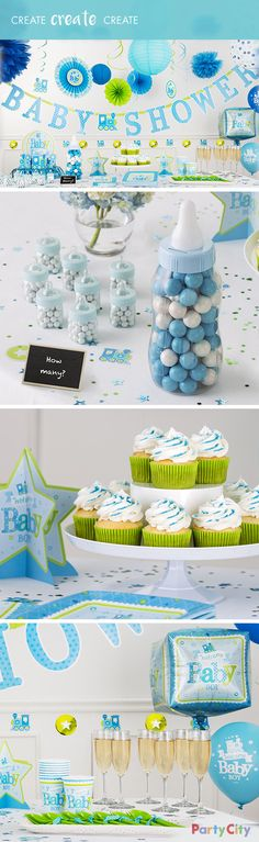 Create a sweet impression with a display of scrumptious treats alongside matching baby shower décor! First, pick out the color and theme of your shower. Then, decorate the space with color-coordinating tableware, centerpieces, hanging decorations and more. Finally, add color-matched sweets, accessories and unique-shaped containers like an oversized baby bottle filled with gumballs. Celebrate your soon-to-be newest addition to the family while guests enjoy the tasty treats!