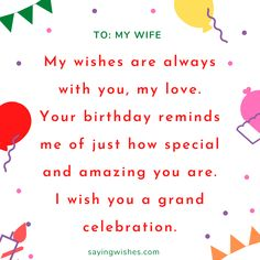 Cute, heart touching birthday wishes for long distance Wife. Send these wishes via Facebook, Instagram, Whatsapp, Pinterest and other social networking accounts. #happybirthday #wife #love #romantic