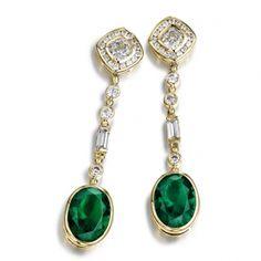 Simply Decadent Tru-Emerald Drop Earrings 18ct. Gold clad