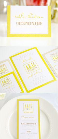 modern logo yellow wedding invitations #shine #invitations #yellowstationery http://www.shineweddinginvitations.com/wedding-invitations/modern-logo-wedding-invitations