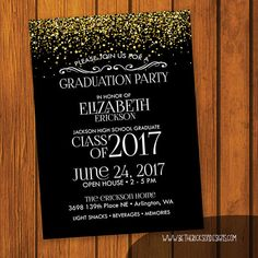 5x7 or 4x6 (you choose) Graduation Party Invitation Colors and Wording can be changed. If you dont see a design that exactly fits your needs MESSAGE ME! I can design something just for you! This can be made in to a postcard if you prefer. Just let me know. ******************* HOW IT WORKS ******************* You send me your graduates name, graduation date, Name of School and Year Graduating, and all the info on the party and I will customize the announcement to fit your text and image and…