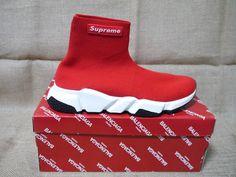 d7b2d0e3a6 Limited Edition SIZE 12 US Balenciaga x Supreme Trainer Men High Top   RED BLACK