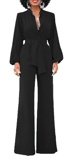 74a1310c245bc2 Women's Clothing, Jumpsuits, Rompers & Overalls, Womens Long Sleeve  High Waist Wide