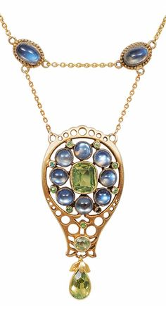 A Jugendstil gold, moonstone and peridot necklace, circa 1900. #Jugendstil