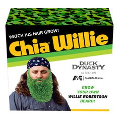 Duck Dynasty Willie Robertson Chia Pet from History Shop. Saved to Things I want as gifts. Willie Robertson, Pet Ducks, Chia Pet, Duck Calls, Duck Commander, Wife And Kids, Duck Dynasty, Grow Hair, Holiday Gift Guide