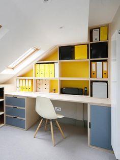 Fitted Furniture - Study & Home Office - Alcove Designs, London Small Attic Room, Small Loft, Attic Spaces, Attic Rooms, Small Rooms, Small Spaces, Small Attics, Attic Bedroom Storage, Loft Storage