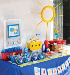 Pool Party snack table — perfect for little swimmers!