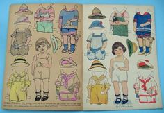 """Dollies to Paint Cutout and Dress"" paper doll cut out book by Saalfield Publishing. This delightful book features 8 pages of cut out paper dolls from 1918. All uncut."
