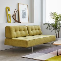 Buy Bedford Sleeper Lounge from Gus Modern. This unique and versatile design is the ideal sofa for small spaces. The Bedford Lounge has removable back . Home Living, Living Room Modern, Small Living, Home Design, Interior Design, Living Room Furniture, Modern Furniture, Modern Sofa, Furniture Stores