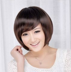 Women Short Straight Hair Side Bang Wigs 3 Colors Available Side Bangs Hairstyles, Bob Hairstyles, Straight Hairstyles, Asian Bob Haircut, Short Haircut, Black Women Short Hairstyles, Natural Hair Styles, Short Hair Styles, Summer Haircuts