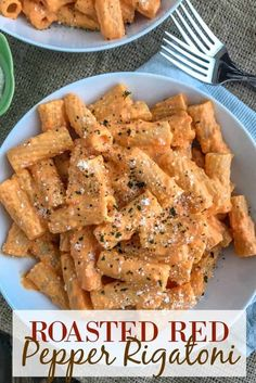Pasta Recipes Roasted Red Pepper Rigatoni – an easy-to-make, light and healthy, yet satisfying… Italian Recipes, New Recipes, Vegetarian Recipes, Dinner Recipes, Cooking Recipes, Healthy Recipes, Cooking Fish, Healthy Drinks, Basic Cooking