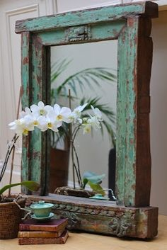 Mirror Made From An Old Window Frame Or Piece Of Furniture, Somehow Looks  Asian Probably Because Of The Orchid.