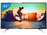 "Smart TV LED 43"" Philips 4K Ultra HD 43PUG6102/78 - Conversor Digital Wi-Fi 4 HDMI 2 USB DTVi"