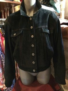 1990' black suede leather jeans style jacket by nicevintageshop