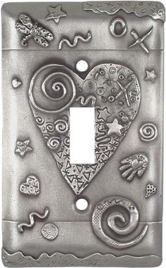 HEART Antique Pewter Switch Plates, Outlet Covers & Rocker Switchplates