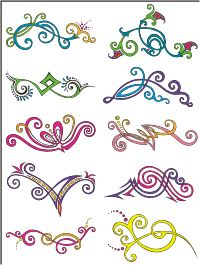 Vector Clip Art - Oriental Color Pinstripes