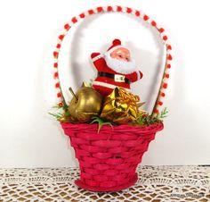 Vintage Christmas Decoration Ornament Santa In A by VintageTinsel