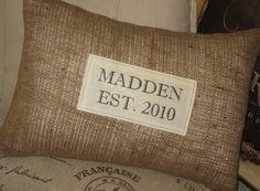Farmhouse Burlap Pillow - Wedding Gift, Autumn, Fall, Personalized Gift, Custom Established Wedding, Pillows, Established Date. $37.50, via Etsy.