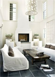 Erica Brand posted Grey slate tile floors, white living room to her -For the home- postboard via the Juxtapost bookmarklet. White Living Room, White Interior, Home, Atlanta Homes, Home And Living, Living Room Designs, Interior, White Rooms, House Interior