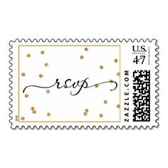 Gold Confetti Black rsvp Wedding Postage