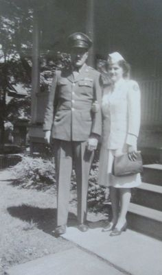 Marie Sgriccia is pictured in her nurse's uniform with her brother, Nick, who was also in the service, outside their parent's home in Scranton, Pa. during World War II.