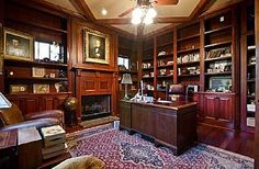 wood-panelled library Cozy Home Library, Library Ideas, Interior Decorating, Interior Design, Interior Ideas, Traditional Family Rooms, Study Office, Man Room, Home Office Design