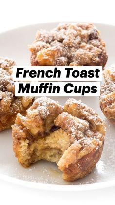 Muffin Recipes, Brunch Recipes, Baking Recipes, Sweet Recipes, Breakfast Recipes, Dessert Recipes, Desserts, French Toast Muffins, Best Breakfast