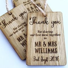 Wooden 'Thank you' Wedding Favour Tags