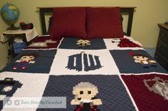 Doctor Who crocheted blanket (c2c). Choose from lots of different panel options