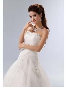 A-line Floor-length Wedding Dress -Strapless Tulle – USD $ 179.99