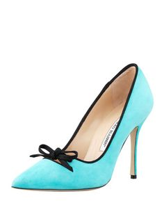 Bori Piped Suede Bow Pump by Manolo Blahnik at Bergdorf Goodman.