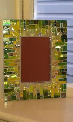 Lemon Lime Mosaic Mirror by anniekatsdesigns on Etsy Mirror Mosaic, Mirror Tiles, Mosaic Art, Mosaic Glass, Mosaic Tiles, Fused Glass, Stained Glass, Glass Art, Broken Mirror Diy