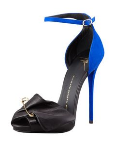 Giuseppe Zanotti ~ Safety Pin Leather & Suede Sandal, Black/Blue