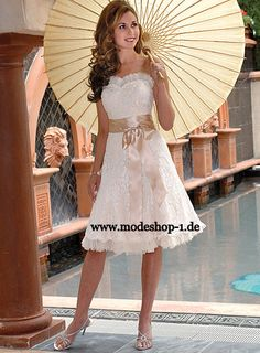 Wedding Dress   Braut Mode Brautkleid Malaita Kurz  www.modeshop-1.de