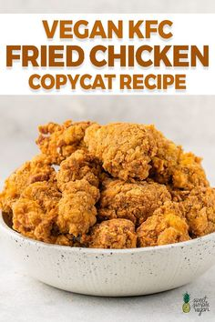 Learn how to make THE BEST vegan KFC fried chicken. This copycat recipe is spot on to the flavor and crispiness of fried chicken. You won't believe it until you try it for yourself! #sweetsimplevegan #kfc #copycat #friedchicken #meatless #dairyfree #plantbased #crispy #chicken #vegan #veganrecipes Tasty Vegetarian Recipes, Vegan Dinner Recipes, Whole Food Recipes, Cooking Recipes, Healthy Recipes, Vegan Recipes Simple, Vegan Food Recipes, Vegan Chicken Recipes, Crockpot Recipes