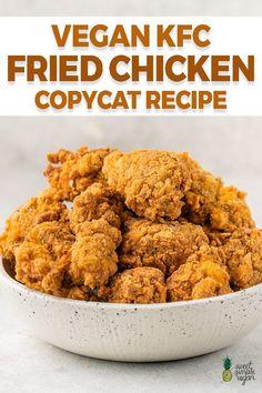 Vegan Kfc, Vegan Fries, Raw Vegan, Vegan Dinner Recipes, Cooking Recipes, Healthy Recipes, Yummy Vegan Recipes, Vegan Chicken Recipes, Crockpot Recipes
