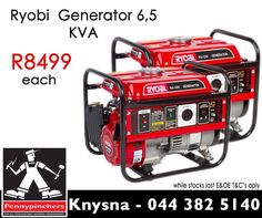 Get the best specials in town at #Pennypinchers #Knysna like this Generator 6,5 KVA for only R8499 each. Remember our crazy specials, view all here: http://apin.link/334. Valid 11 March to 4 April 2015, E&OE. #Pennypinchers #Knysna #Specials #DIY