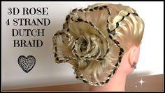 3D Ribbon Rose -  4 Strand Dutch Braid/ Hair Tutorial / HairGlamour