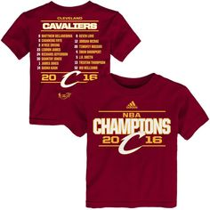 Cleveland Cavaliers adidas Toddler 2016 NBA Finals Champions Roster T-Shirt - Burgundy