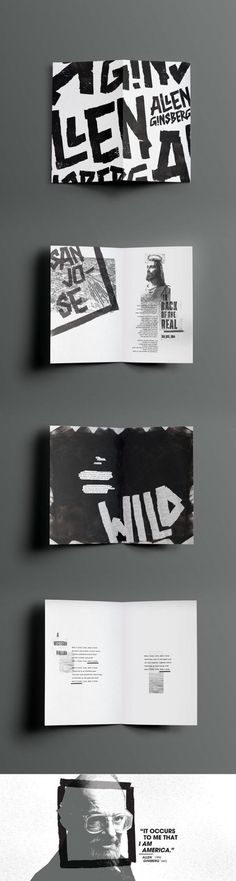 graphic typography and layout Ginsberg Zine on Behance Layout Design, Design De Configuration, Logo Design, Design Typography, Poster Design, Print Layout, Branding Design, Lettering, Web Layout