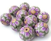 Polymer Clay Beads With Purple and Green Flowers - Set of 10