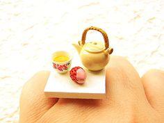 kawaii cute japanese ring tea teapot cup food jewelry