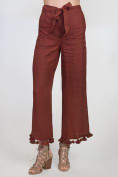 Chan Luu Linen Wide Leg Pom Pant in Cinnamon