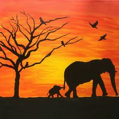 Elephant Sunset Painting Canvas Decor Animals Silhouette Acrylic Handmade