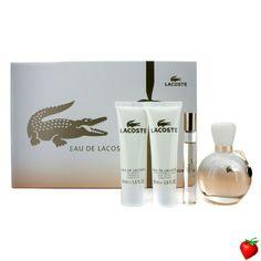 Lacoste Eau De Lacoste Coffret: Edp Spray 90ml/3oz + Edp Roll On 6ml/0.2oz + Body Lotion 50ml/1.6oz + S 4pcs #Lacoste #Perfume #Valentine #Women #StrawberryNET #Giveaway #GiftSet