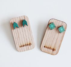 Geometric Post Earrings Aqua Seagreen